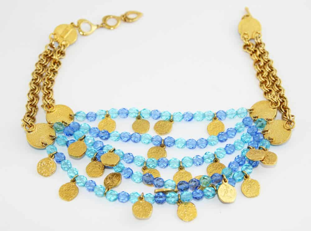 YSL blue crystal and coins vintage necklace 80s