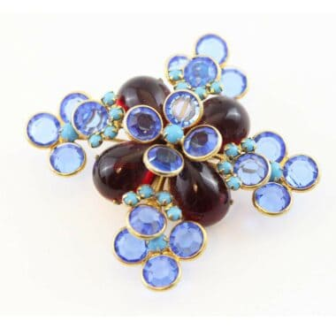Reserved - Mimi di Niscemi 60s blue and red vintage flower brooch