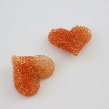 Reserved - Impressive orange vintage Heart Earrings 90s