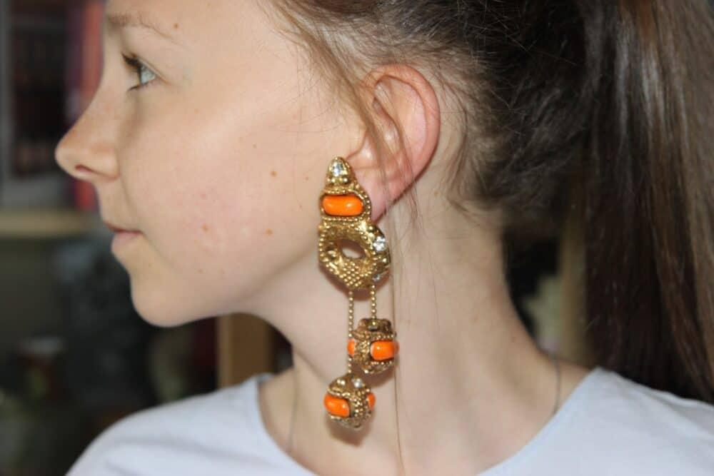 Alexis Lahellec Orange Vintage Earrings Ceramic 80s