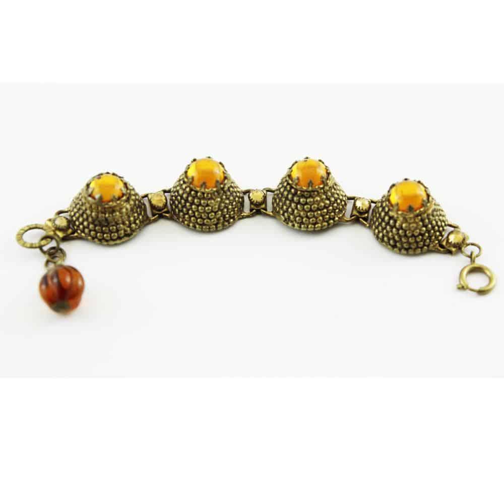 Unique French Amber Glass Gripoix 60s Vintage Bracelet