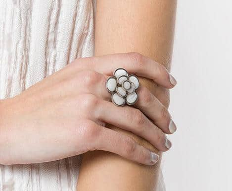 Chanel vintage white camelia silver ring c.2005