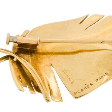 Hermès Leaf 18 kt gold vintage brooch 50s