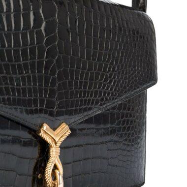 Hermès Rarity Black croco vintage bag 60s