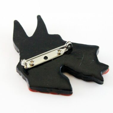 Unique Black Wood Terrier Vintage brooch 70s