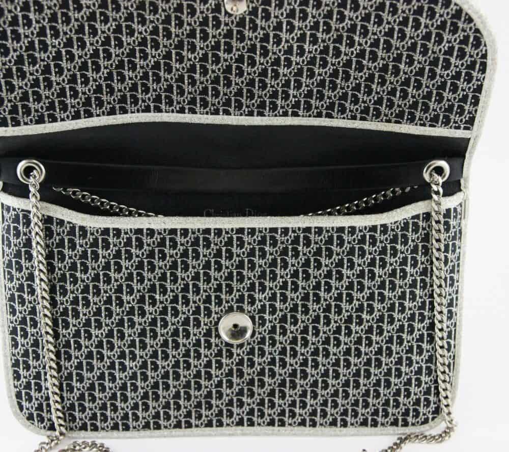 Reserved - Christian Dior Vintage 70s Monogram black and silver clutch bag