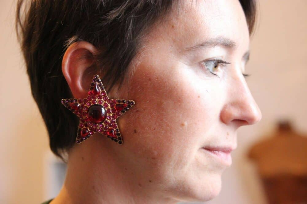 Reserved - Yves Saint Laurent YSL Vintage Red and Pink stars Haute Couture Earrings 80s