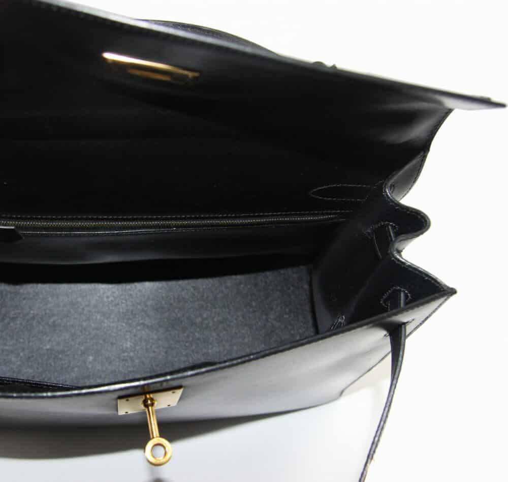 Hermès Black box Kelly handbag 32 cm