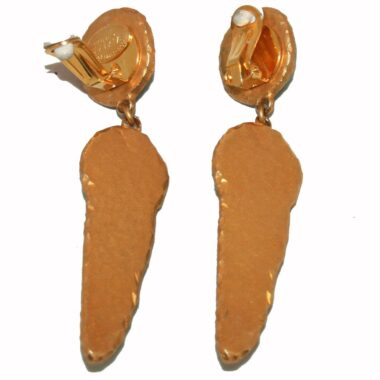 Dominique Denaive Green Shell Ceramic vintage earrings 80s