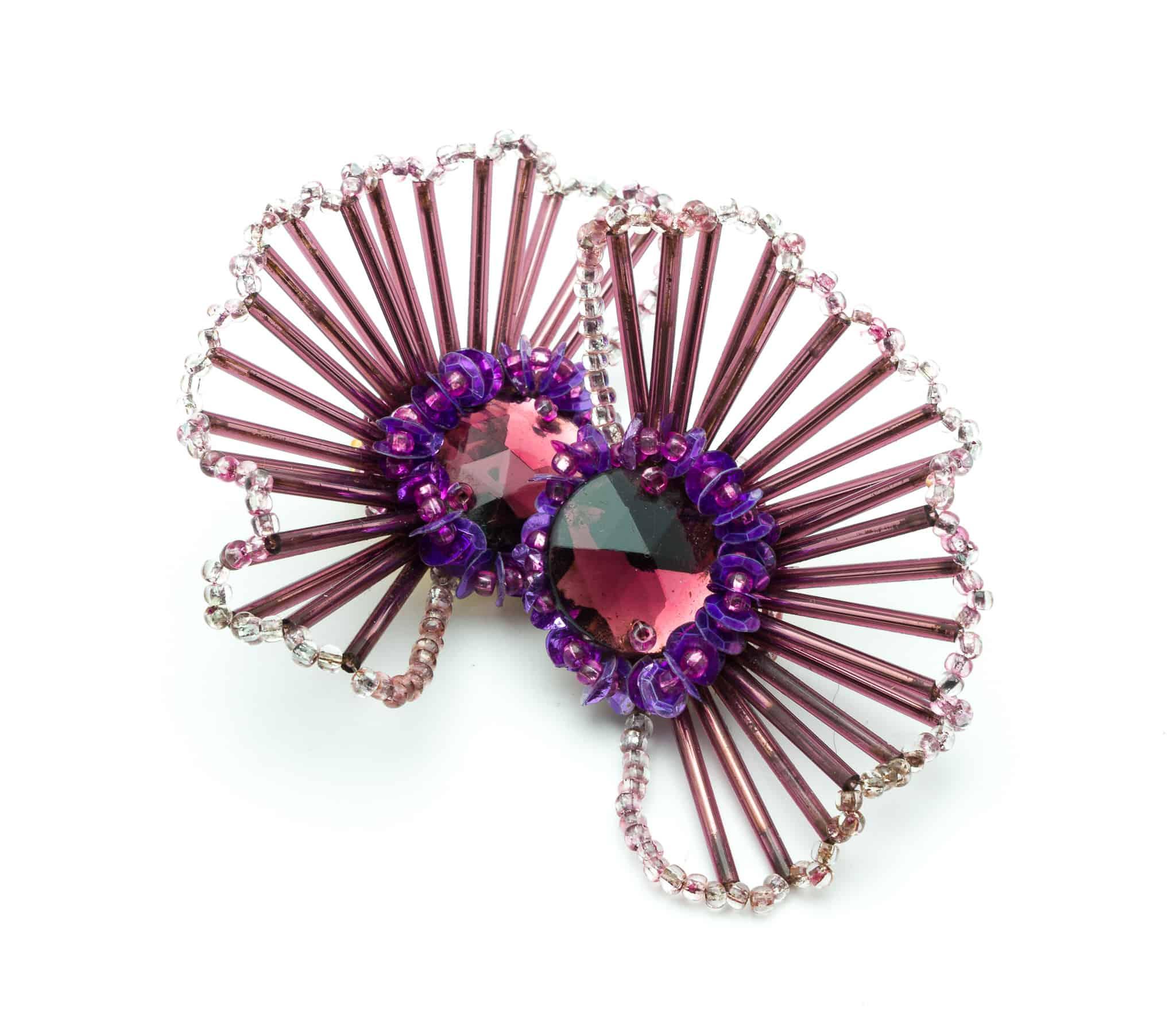 Vintage fun purple clip on earrings