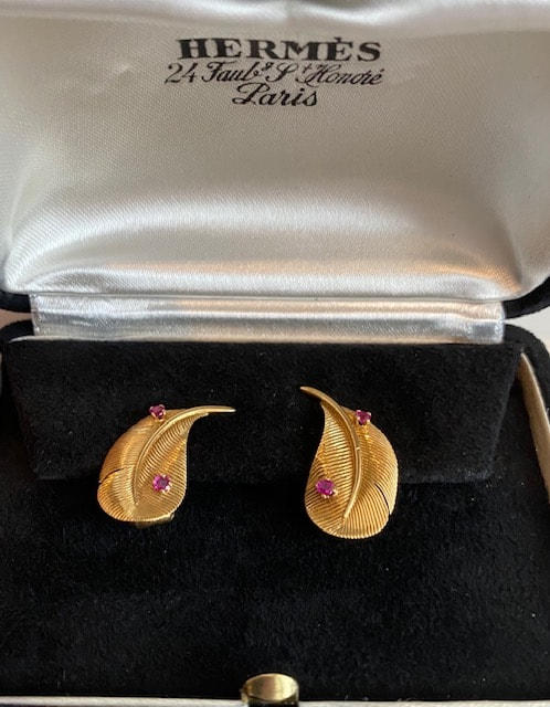 Hermès Leafs Gold Earrings 50s Collector